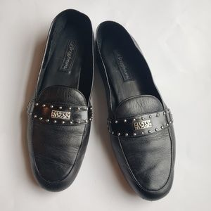 Brighton black leather loafers.